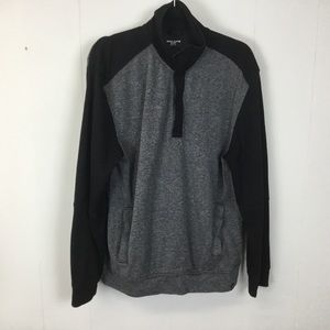 DKNY Jeans mens gray quarter zip pullover sweater